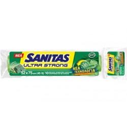 Sanitas Ultra Strong Σακούλες Απορριμμάτων Με Άρωμα Πράσινο Σαπούνι 52x75 10τμχ