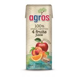 Agros Χυμός 4 Φρούτα Μήλο-Πορτοκάλι-Ροδάκινο-Βερίκοκο 250ml