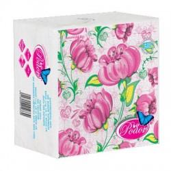 Ρόδον Χαρτοπετσέτα 33*33 Λευκή με Σχέδιο Άνθος Ροζ 65 Φύλλα