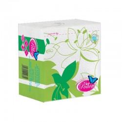 Ρόδον Χαρτοπετσέτα 33*33 Λευκή με Σχέδιο Λουλούδι Πράσινο 65 Φύλλα
